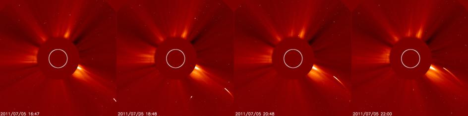 Dinamika komet dalam sekuens citra teleskop LASCO C2. Kredit foto : NASA, 2011