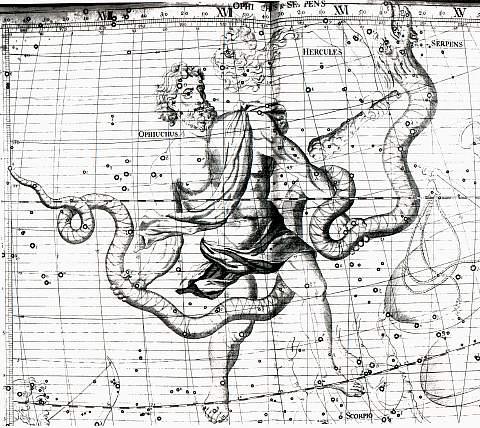 Peta bintang abad ke-18 mengilustrasikan bagaimana kaki Ophiuchus melintasi garis ekliptika. Credit: inquisitr.com