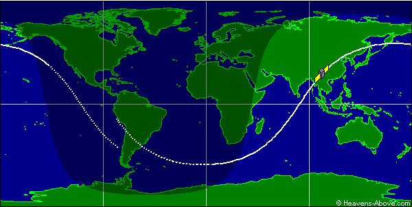 Jejak lintasan (groundtrack) satelit ROSAT pada Jumat pagi 21 Oktober 2011. Dengan kecenderungan migrasi orbit ke barat, satelit ROSAT tak bakal melintas di atas Indonesia antara 21 hingga 31 Oktober 2011. Sumber : Heavens-Above.com, 2011