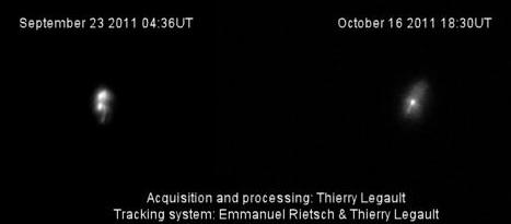 Satelit ROSAT sebagaimana diabadikan astronom amatir Thierry Legault (Perancis) menggunakan teleskopnya, pada dua kesempatan berbeda. Sumber : Legault, 2011 dalam Spaceweather.com, 2011