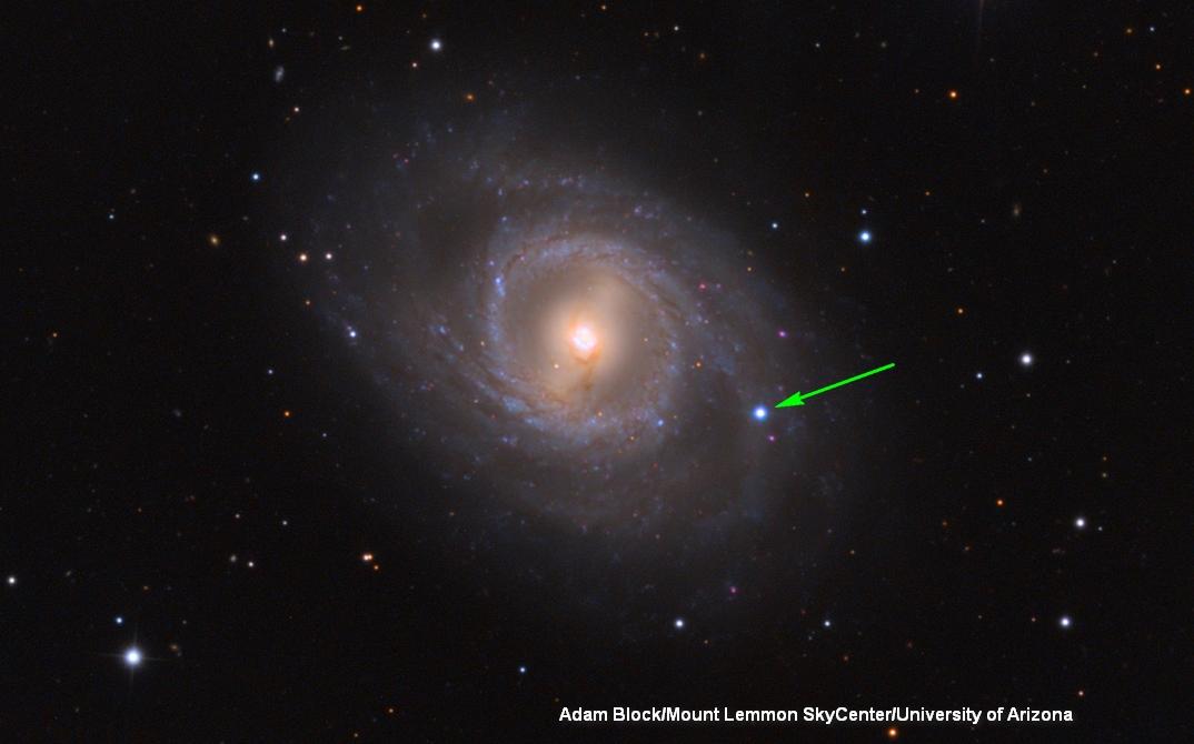 Supernova di lengan M95 (anak panah hijau)