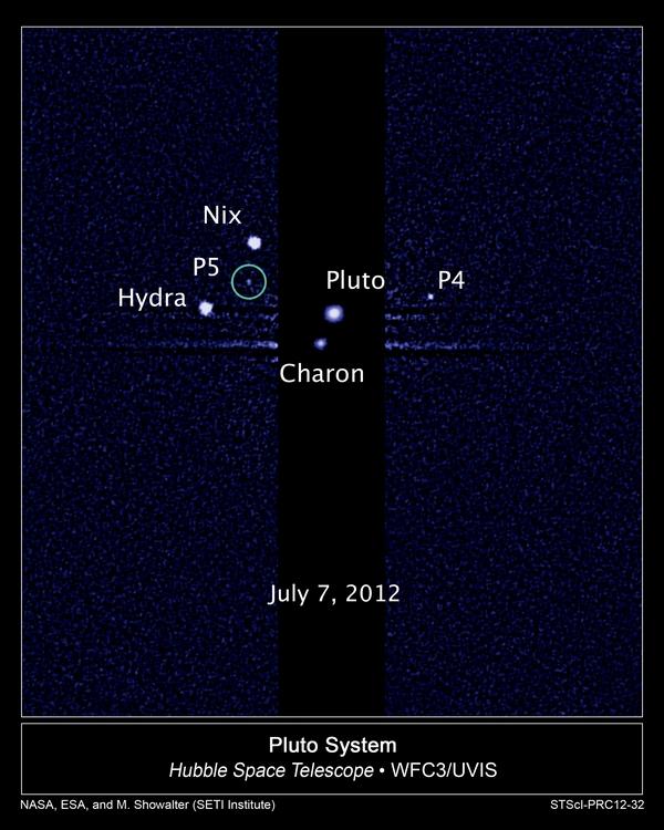 Pluto dan kelima Satelit nya. Credit: NASA; ESA; M. Showalter, SETI Institute