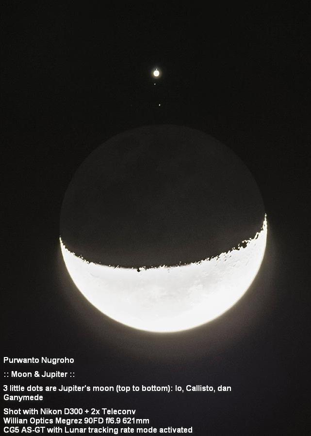 Planet jupiter setelah mengalami okultasi. Tampak pula satelit-satelitnya yang mirip bintang kecil (dari atas kebawah io, Callisto dan Ganymede) Purwanto Nugroho, DKI Jakarta