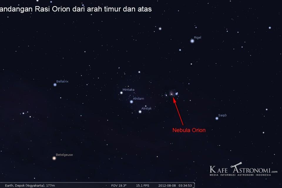 Tiga Bintang sejajar di langit malam
