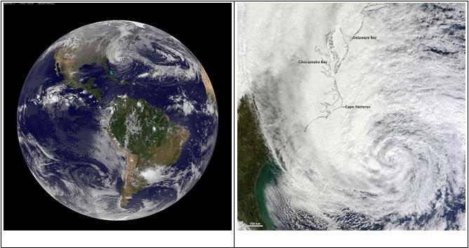 Gambar diatas citra satelit dari NASA. Kita bisa melihat di bagian atas terjadi pusaran awan yang besar. Inilah pusat hurricane Sandy. Tekanan udara sangat rendah di pusatnya sehingga menyebabkan kecepatan angin tinggi. Gambar di sebelah kanan menunjukkan daerah yang terkena dampak badai Sandy dan menunjukkan besarnya ukuran badai Sandy.