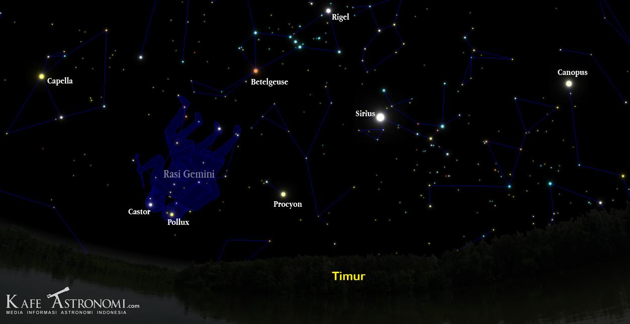 Radiant Hujan Meteor Geminids 2012. Credit : Kafe Astronomi.com berbasis Voyager4.5.5
