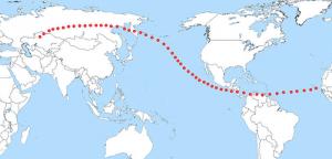 Gambar 4. Titik-titik yang membentuk jalur tempat asteroid Apophis melintas di atasnya dalam perlintasan 13 April 2036. Jika asteroid tersebut benar-benar menumbuk Bumi, maka pada salah satu titik di jalur inilah asteroid bakal jatuh. Sumber : Paul Salazar Foundation, 2008.