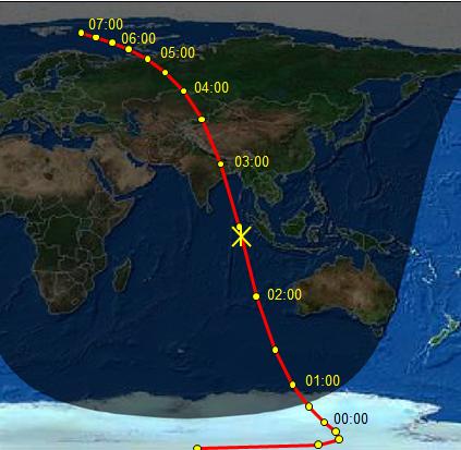 Gambar 3. Peta proyeksi titik perlintasan asteroid 2012 DA14 di permukaan Bumi Selama 16 Februari 2013 sejak pukul 00:00 WIB hingga 07:00 WIB. Tanda silang merupakan titik proyeksi saat asteroid 2012 DA14 mencapai jarak terdekat dengan Bumi. Bagian Bumi yang gelap menandakan malam, sementara yang terang menunjukkan siang. Situasi siang dan malam dipaskan dengan situasi pukul 02:26 WIB, yakni saat asteroid 2012 DA14 mencapai titik terdekat dengan Bumi.  Sumber: Sudibyo, 2013 dengan data dari Heavens-Above.com