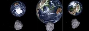 Gambar 1. Simulasi detik-detik perjalanan asteroid 2012 DA14 saat melintas sangat dekat Bumi pada Sabtu 16 Februari 2013 dinihari waktu Indonesia, perhatikan perubahan ukuran kenampakan Bumi. Kiri: 2 jam sebelum mencapai jarak terdekat, asteroid masih sangat tinggi di atas Antartika. Tengah: saat mencapai jarak terdekat, asteroid ada di atas lepas pantai barat Sumatra. Kanan: 2 jam setelah mencapai jarak terdekat, asteroid sudah sangat tinggi kembali dan kali ini ada di atas Rusia bagian barat. Sumber: NASA, 2013.