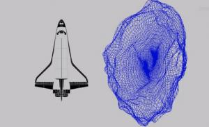 Gambar 1. Perbandingan asteroid 2012 DA14 dengan pesawat antariksa ulang-alik, yang memperlihatkan besarnya ukuran asteroid pemecah rekor perlintasan-terdekat dengan Bumi ini. Sumber : NASA, 2013.