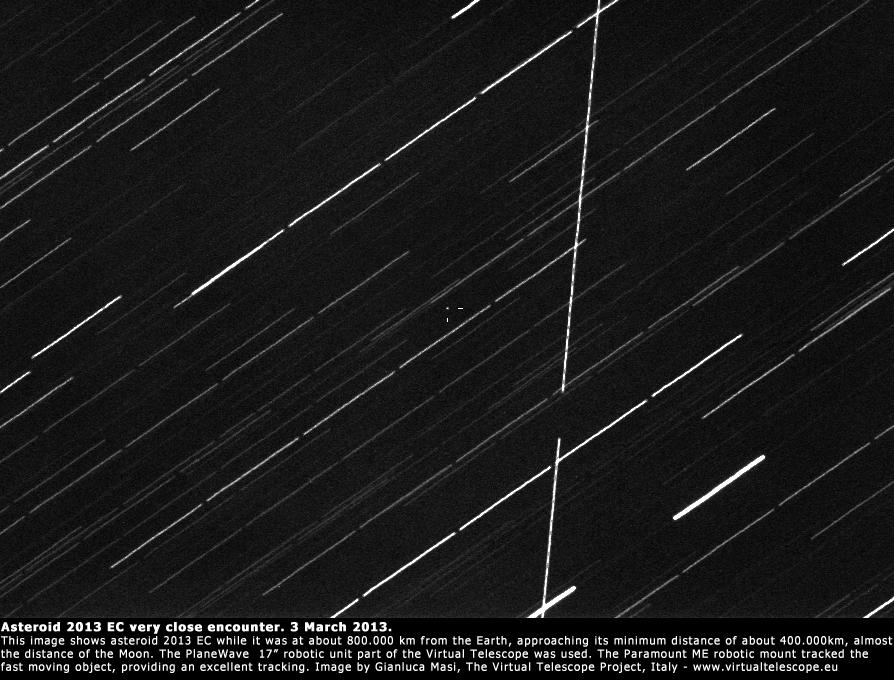 Foto asteroid 2013 EC yang ditandai dengan tanda +. Kredit : Gianluca Masi