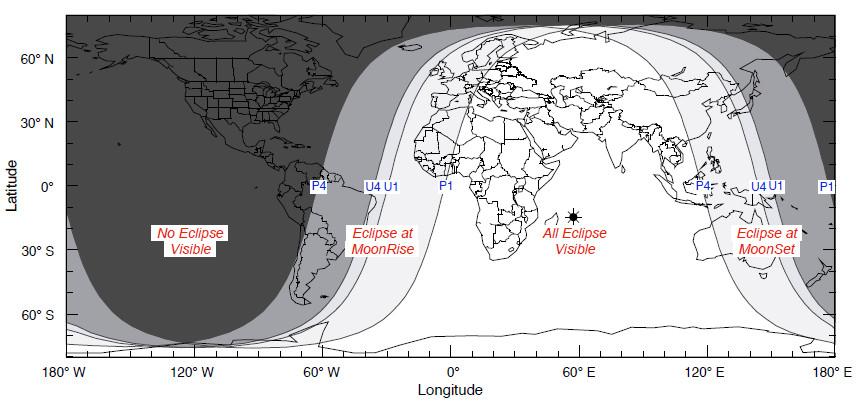 Peta gerhana bulan parsial dan seluruh kepulauan di Indonesia dapat menyaksikannya. Sumber : NASA 2013.