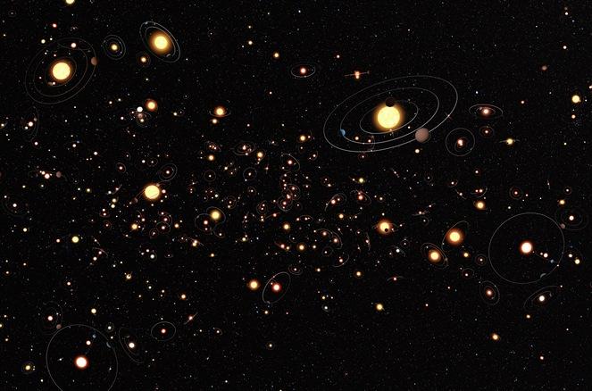 Gambaran artis tentang eksoplanet diseluruh galaksi bimasakti. Sumber : Wikipedia.org