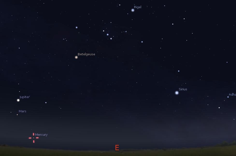 Planet Merkurius, Mars dan Jupiter dipagi hari. Simulasi langit menggunakan Stellarium.