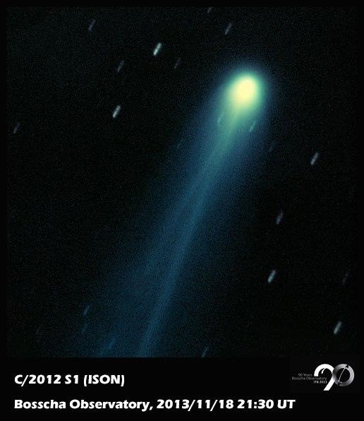 Komet ISON (C/2012 S1). Gambar diambil pada tanggal 19 November 2013, 4:30 WIB, dengan menggunakan teleskop robotik Celestron C8 + SBIG ST-9XME di Observatorium Bosscha oleh Muhammad Yusuf. Sumber: FP Observatorium Bosscha, 2013.