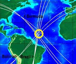 Gambar 4. Titik-titik stasiun IMS di Bolivia, Brazil dan Kepulauan Bermuda yang mendeteksi lonjakan gelombang infrasonik seiring tumbukan asteroid 2014 AA. Lokasi tumbukan digambarkan dalam lingkaran kuning. Sumber: Brown, 2014.