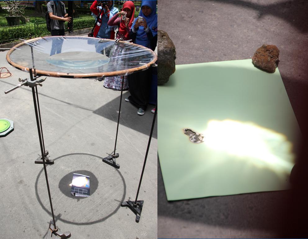 Lensa Planokonveks menggunakan air mampu membakar kertas. Sumber : Syaiful Umar, 2014.