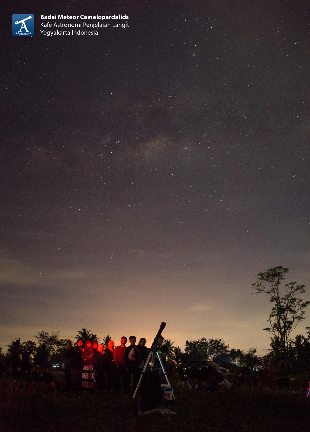 Mengamati planet Mars dengan latar belakang galaksi Bimasakti