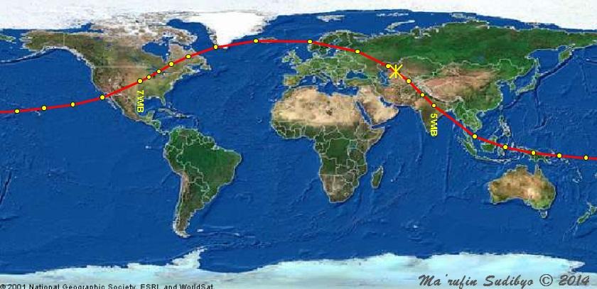 Gambar 4. Proyeksi lintasan asteroid 2014 LY21 di atas permukaan Bumi pada 4 Juni 2014. Sebelum pukul 05:00 WIB dan setelah pukul 07:00 WIB, titik-titik kuning melambangkan proyeksi posisi asteroid setiap sejam sekali. Sebaliknya antara pukul 05:00 hingga 07:00 WIB, titik-titik kuning merupakan proyeksi posisi asteroid setiap 10 menit sekali. Tanda bintang (*) adalah titik proyeksi saat asteroid berada pada jarak terdekatnya dengan Bumi. Jelas terlihat bahwa asteroid 2014 LY21 melintas di atas Indonesia antara pukul 02:00 hingga 04:00 WIB. Sumber: Sudibyo, 2014 dengan data dari NASA Solar System Dynamics.