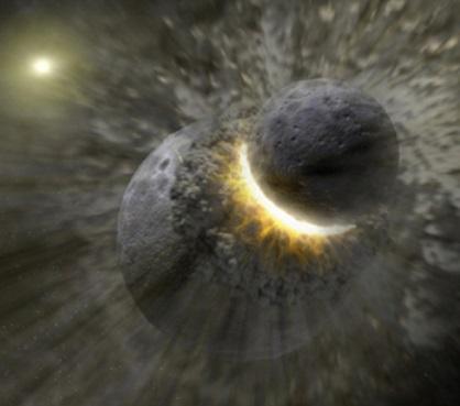 Gambar 1. Ilustrasi bagaimana material yang membentuk Bulan dihasilkan menurut gagasan hantaman akbar, teori pembentukan Bulan terfavorit pada saat ini. Nampak proto-Bumi (ukuran lebih besar) kala dihantam oleh proto-Theia (berukuran lebih kecil). Hantaman akbar ini memencarkan material selubung dan kerak baik dari proto-Bumi maupun proto-Theia ke langit. Di kemudian hari material tersebut menggumpal kembali menjadi Bulan. Sumber: NASA Jet Propulsion Laboratory, 2014.
