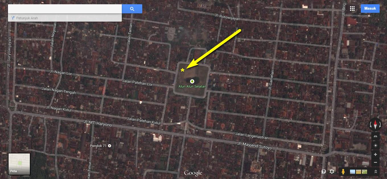 Peta lokasi pengamatan Gerhana Bulan Total oleh Kafe Astronomi dan Klub Astronomi Penjelajah Langit. Alun-alun selatan kota Yogyakarta. Koordinat (-7.811447, 110.362826)