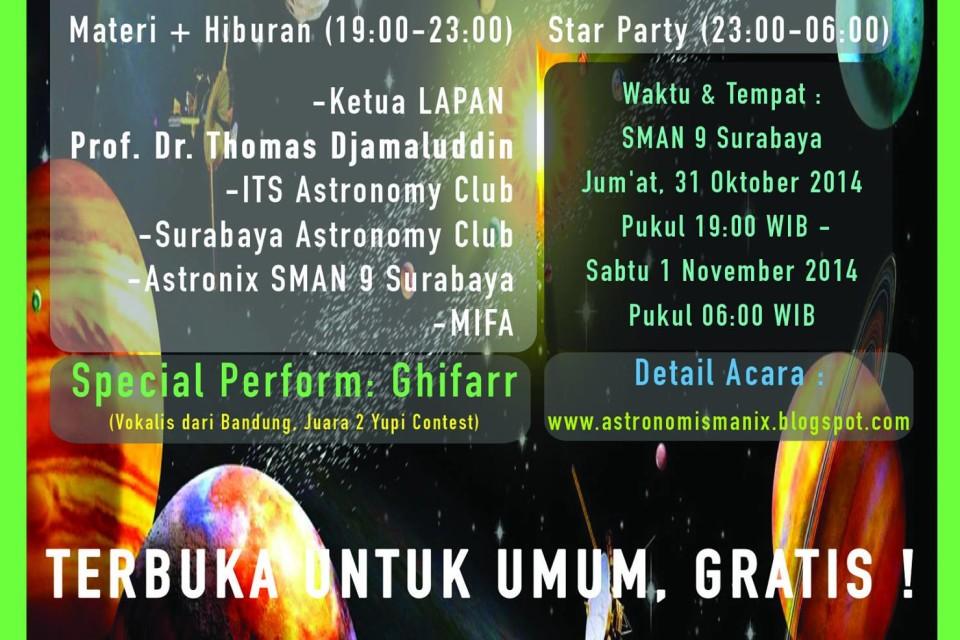 STAR PARTY SMAN 9 Surabaya – Explore The Universe