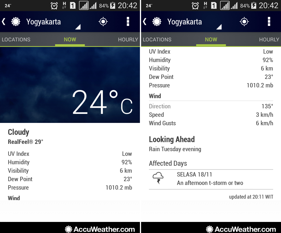 Tampilan halaman utama pada AccuWeather. Sumber : AccuWeather 2014.