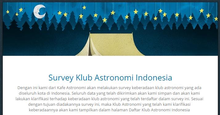 Halaman Survey Klub Astronomi Indonesia. Sumber : Kafe Astronomi.com 2014