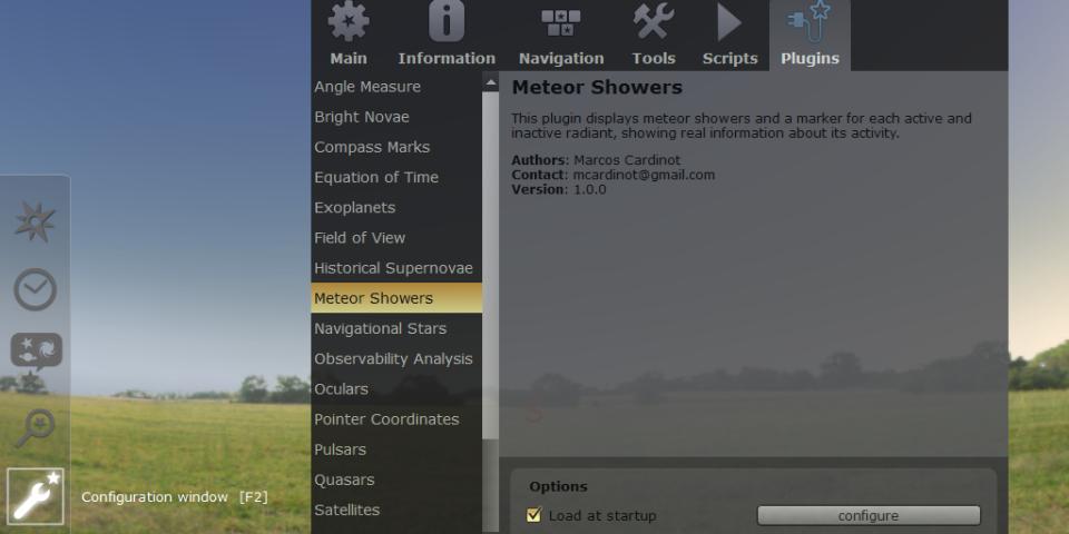 Plugin Hujan Meteor Pada Stellarium