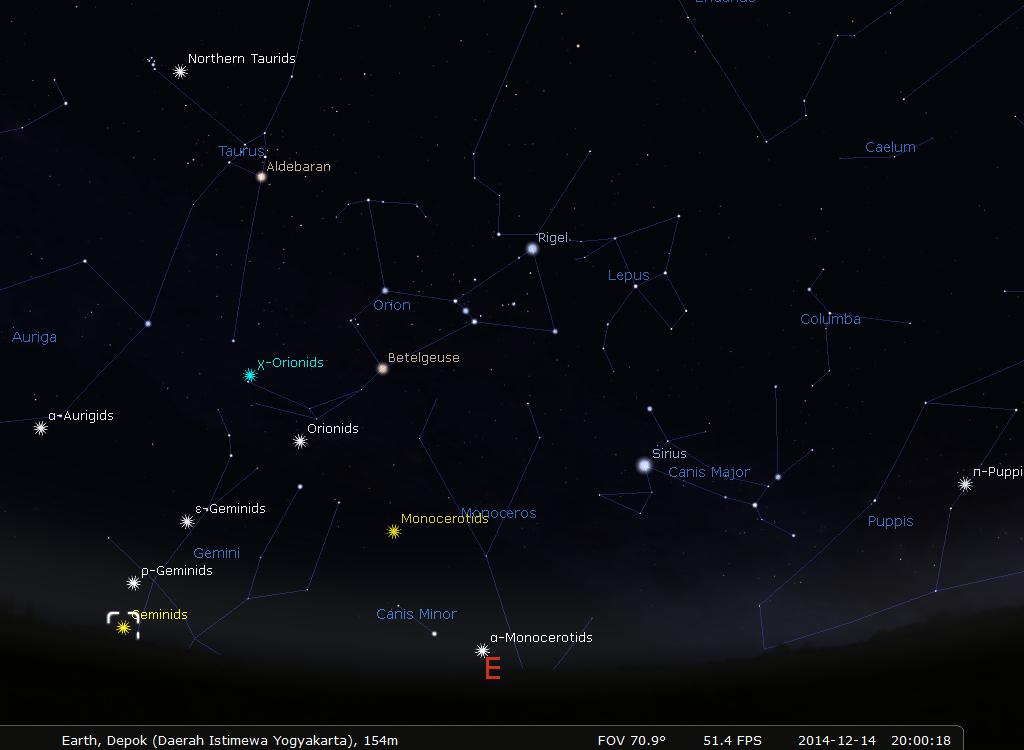 Rasi Gemini sebagai radiant hujan meteor Geminids. Sumber : Eko Hadi G melalui Stellarium