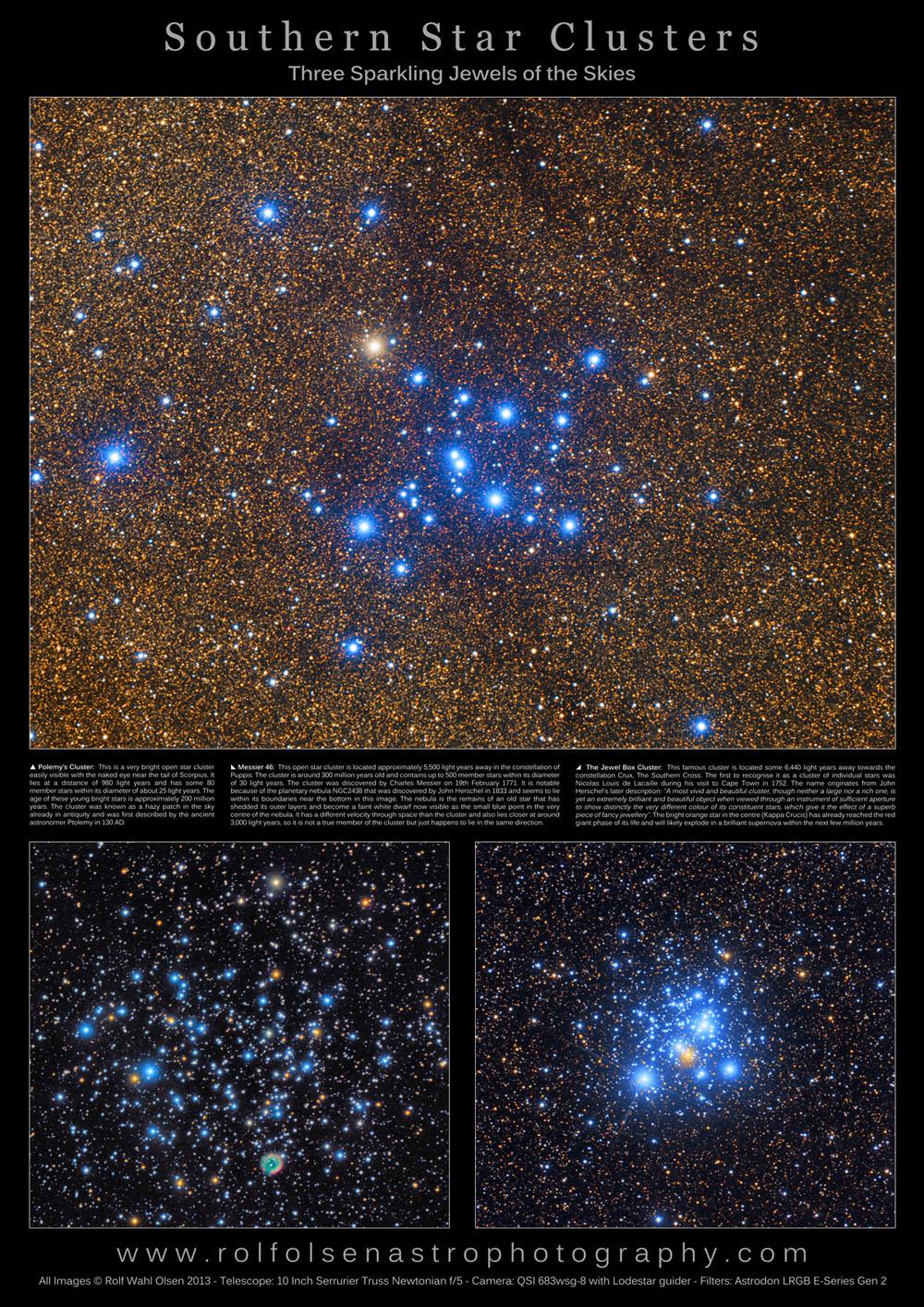 Contoh gugus bintang terbuka lainnya. Atas : Gugus bintang Ptolemy, kanan bawah : Jewel Box, kiri bawah : Messier 46. Sumber : rolfolsenastrophotography.com