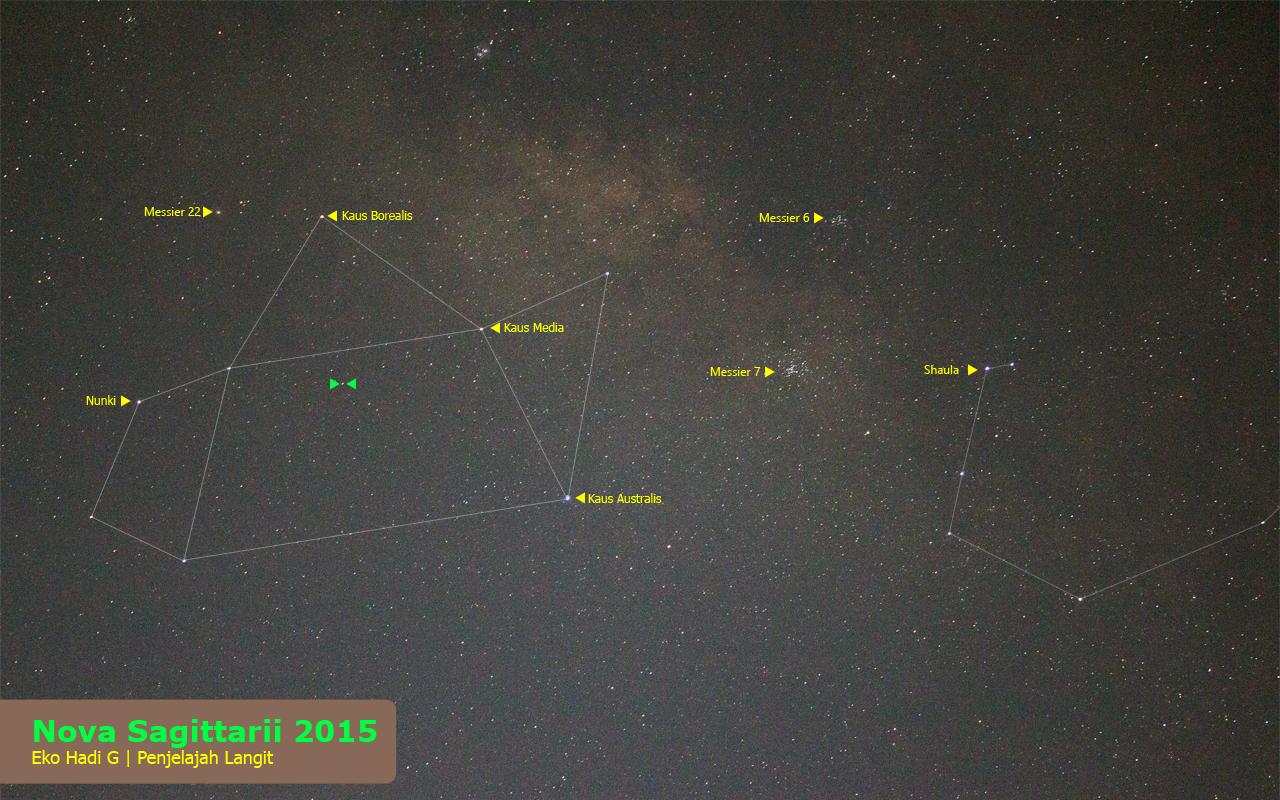 Tampak pada foto ini Nova Sagittarii 2015 diapit oleh segitiga hijau. Sumber : Eko Hadi G 2015