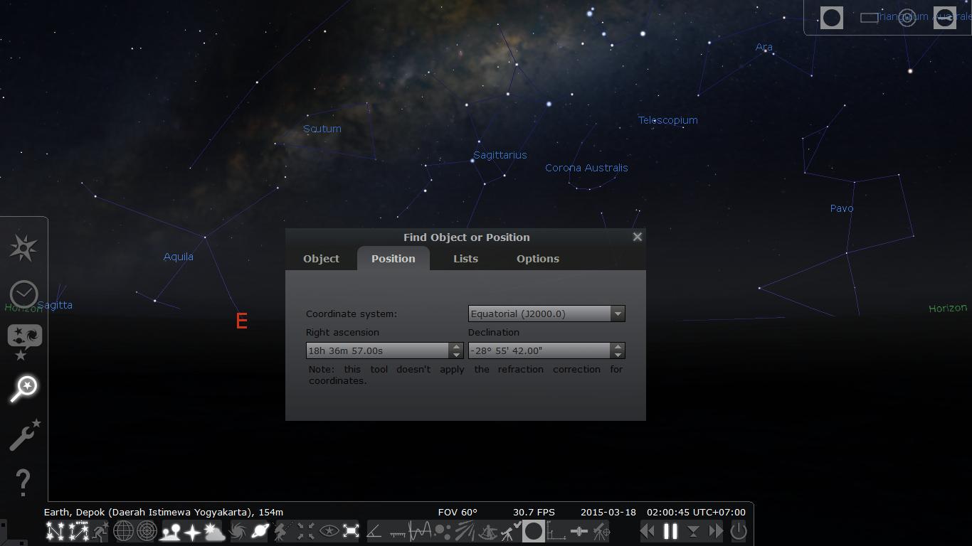 Tab Possition dan lokasi Nova Sagittarii. Sumber : Stellarium.