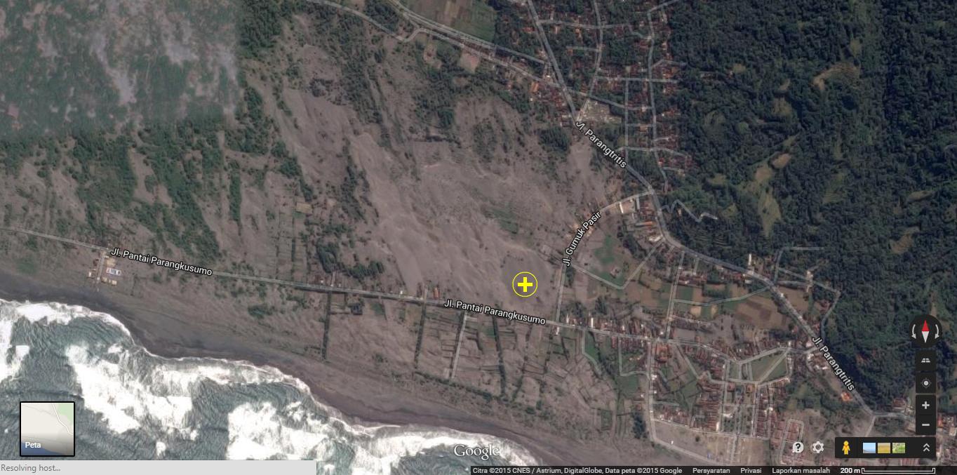 """Lokasi di tandai dengan """"+"""" koordinat lokasi -8.018123, 110.319143 . Sumber : Google Map"""