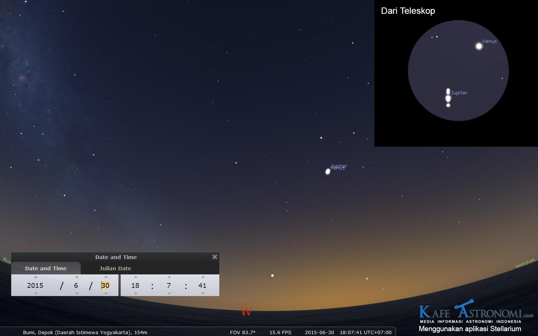 Venus dan Jupiter tampak sebagai satu bintang terang di belahan langit barat. Sumber : Stellarium & KafeAstronomi 2015
