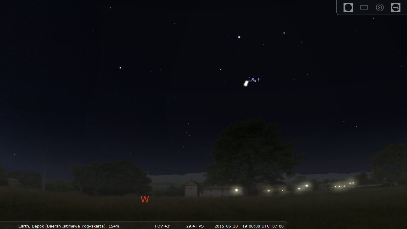 Venus dan Jupiter tampak sebagai dua bintang yang saling berdekatan. Sumber : Stellarium 2015