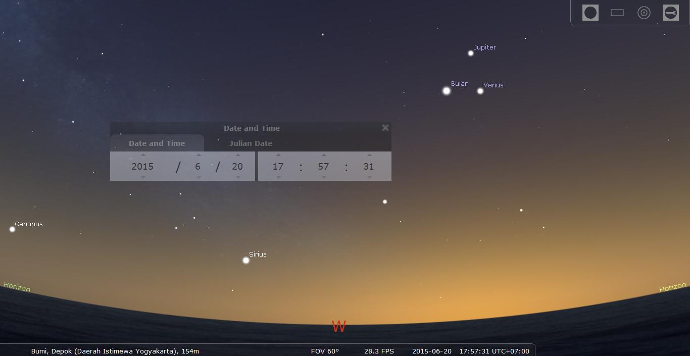 Segitiga Bulan - Venus - Jupiter. Sumber : Stellarium 2015