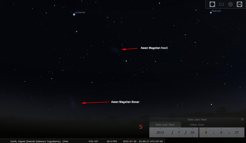 Awan Magellan Besar dan Awan Magellan Kecil di langit belahan selatan. Sumber : Stellarium
