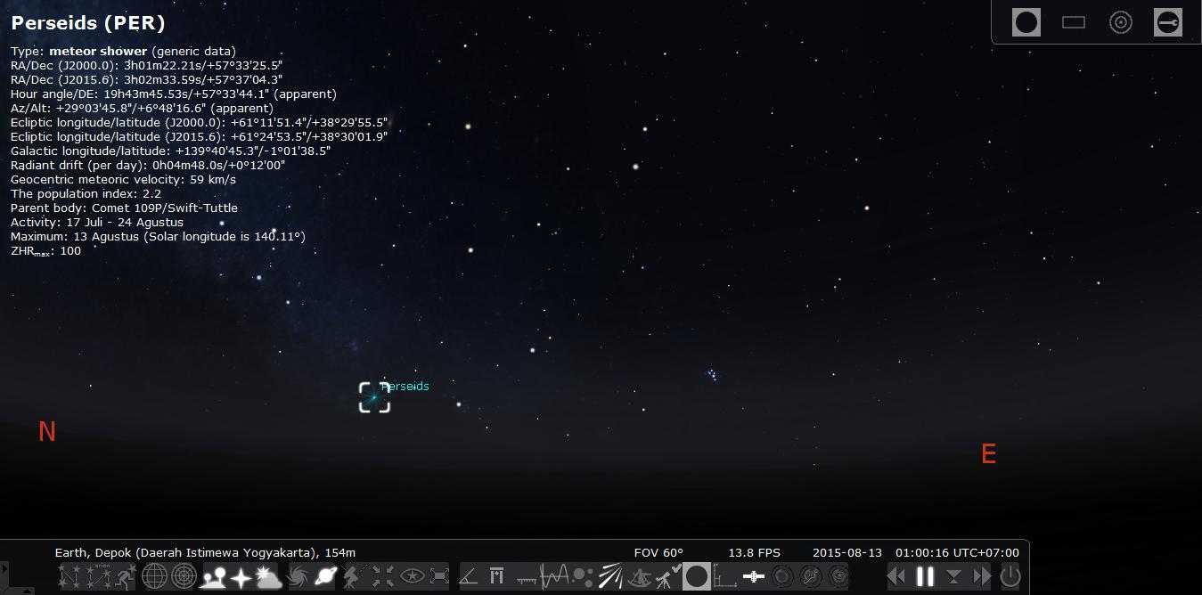 Radiant atau arah sumber semu hujan meteor perseids yang telah terbit pukul 01.00 pagi dini hari. Sumber : Stellarium 2015