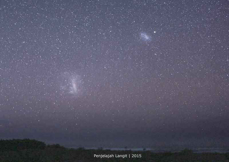 Galaksi Awan Magellan Besar (kiri) dan Galaksi Awan Magellan Kecil (kanan). Kredit : Eko Hadi G 2015