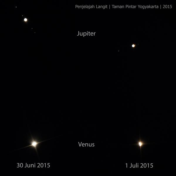 Konjungsi Venus dan Jupiter pada 1 Juli 2015. Kredit : Penjelajah Langit, Taman Pintar Yogyakarta