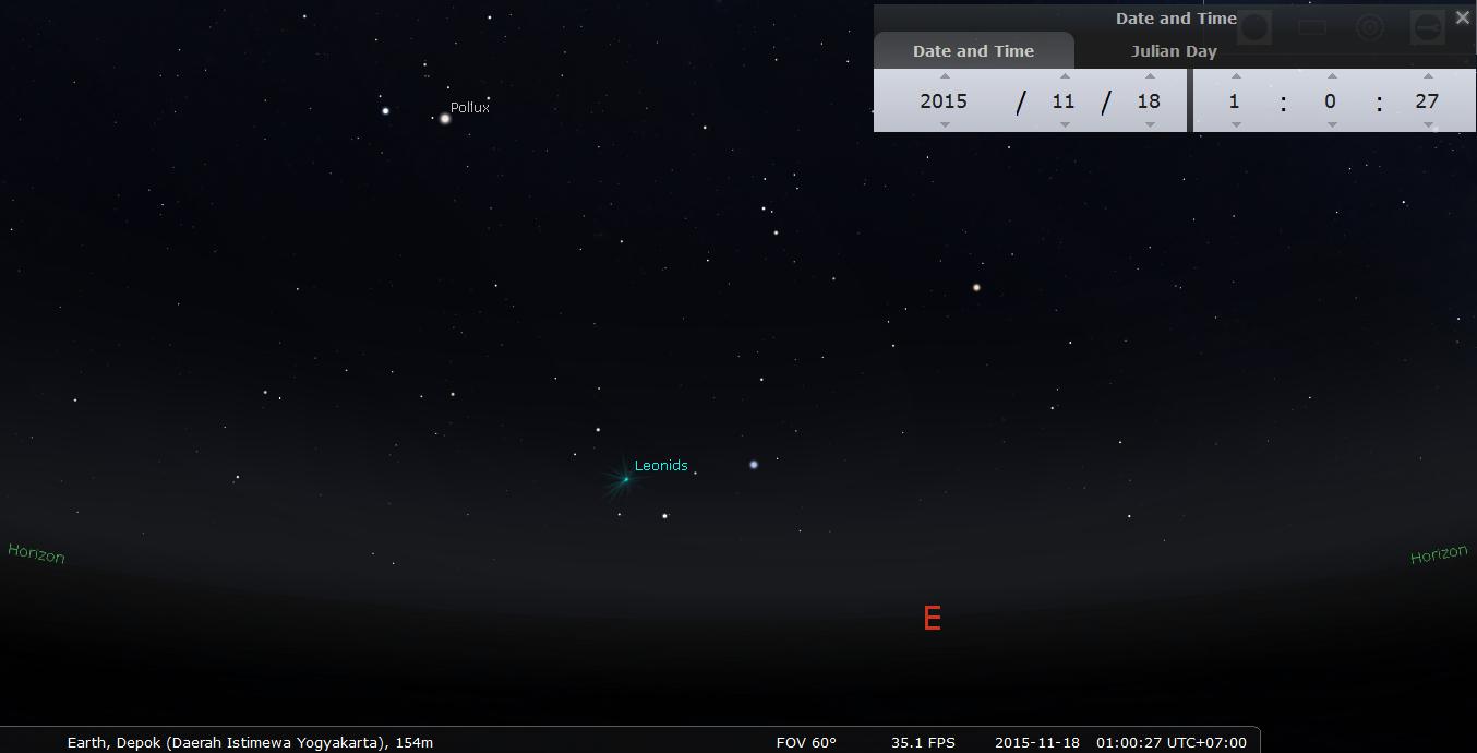 Arah sumber hujan meteor Leonids 2015. Kredit : Stellarium