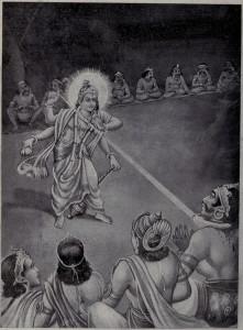 Cakra Dewa Wisnu menebas leher Sang Kala Rahu. . Courtesy : Ramanarayanadatta astri