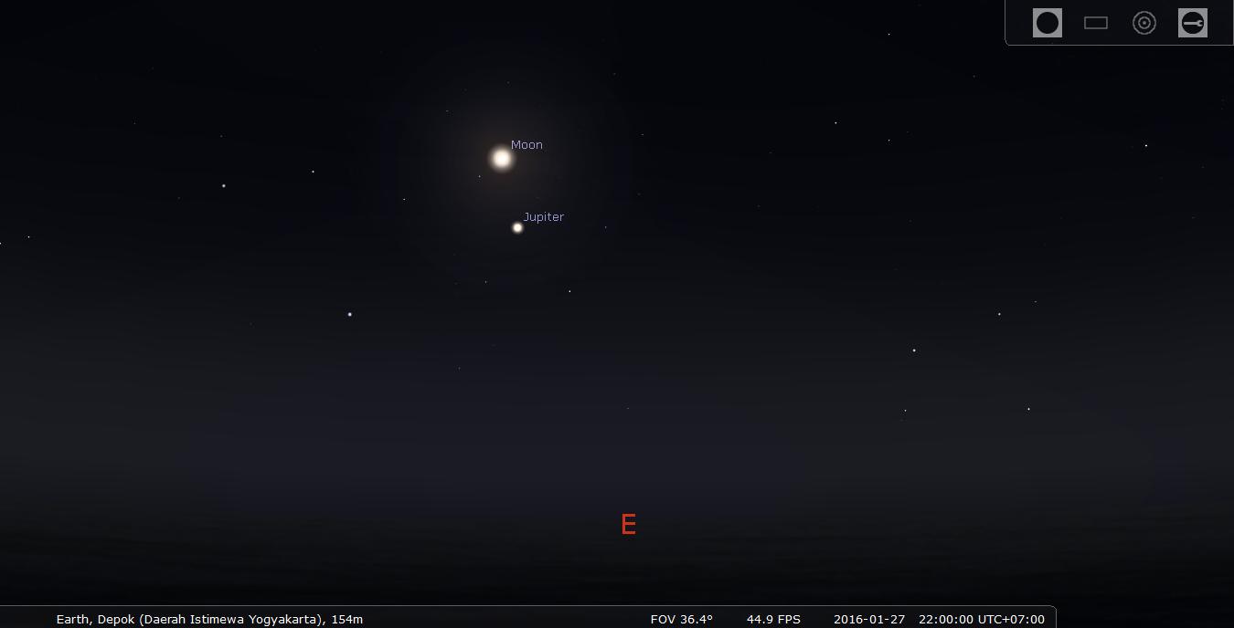Konjungsi Bulan Jupiter. Kredit : Stellarium