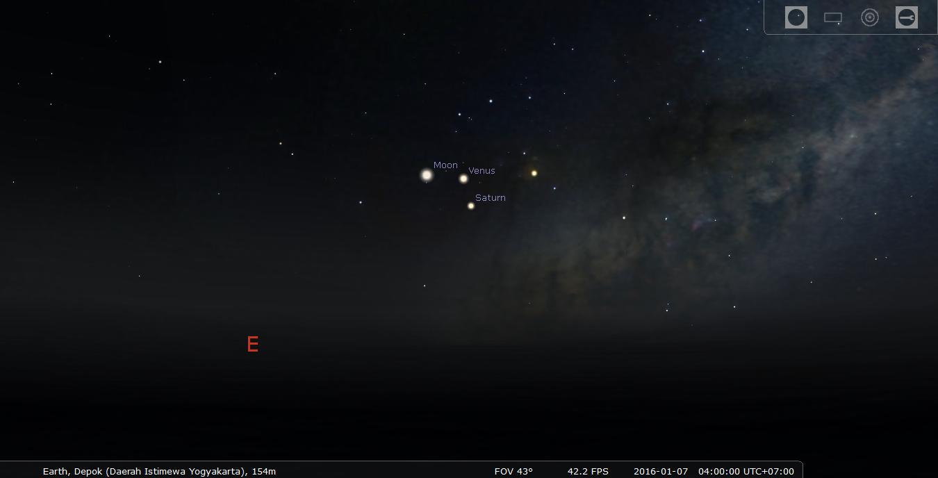 Konjungsi Rangkap Tiga Bulan Venus Saturnus. Kredit : Stellarium