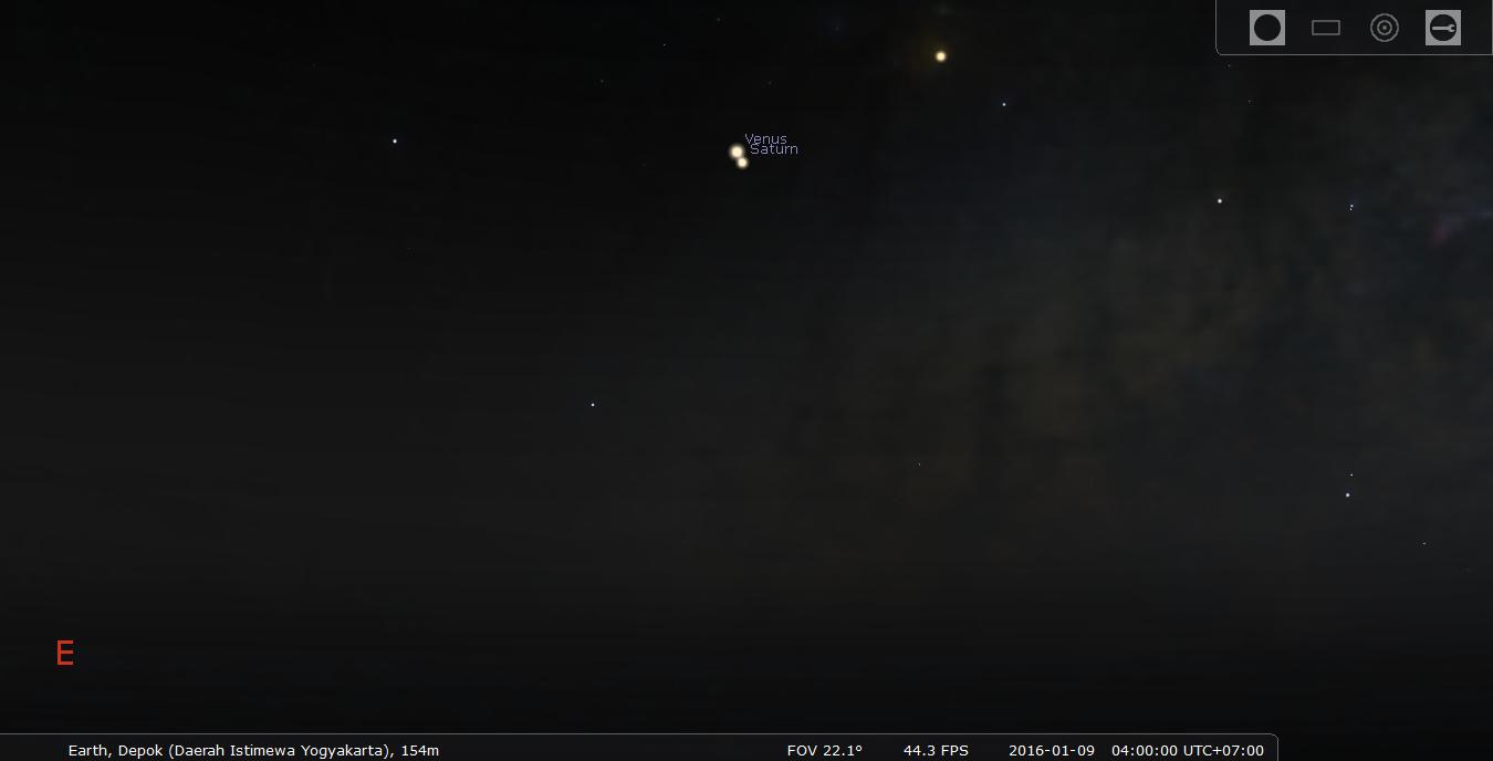 Konjungsi Venus Saturnus. Kredit : Stellarium