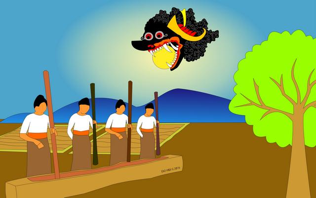 Ilustrasi mitologi saat gerhana Matahari maupun gerhana Bulan. Kredit : Eko Hadi G