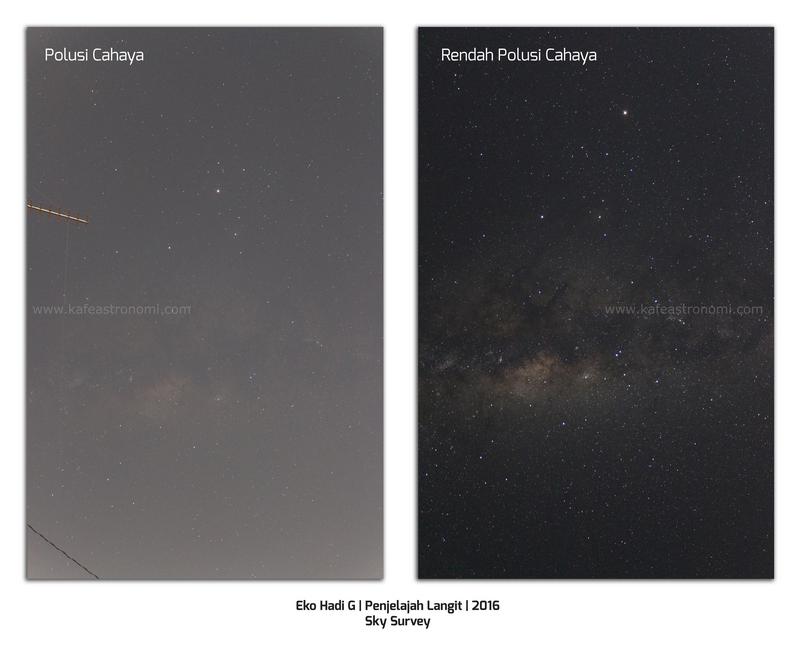 Perbandingan langit malam di lokasi penuh polusi cahaya(kiri) dan lokasi minim polusi cahaya(kanan). Kredit : Eko Hadi G, Penjelajah Langit