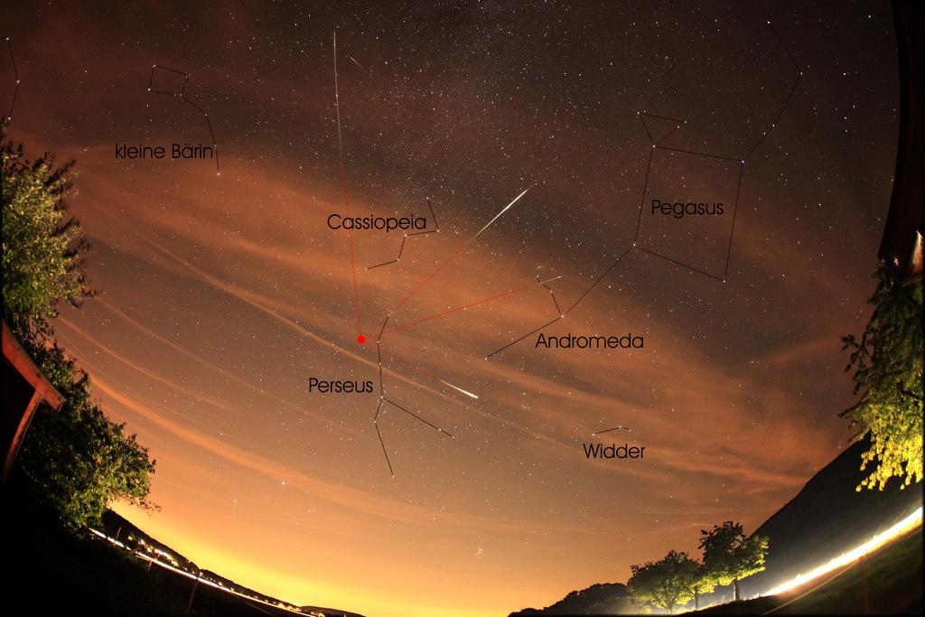 Radiant atau sumber semu hujan meteor rasi bintang Perseus. Kredit : Robertnufer.ch