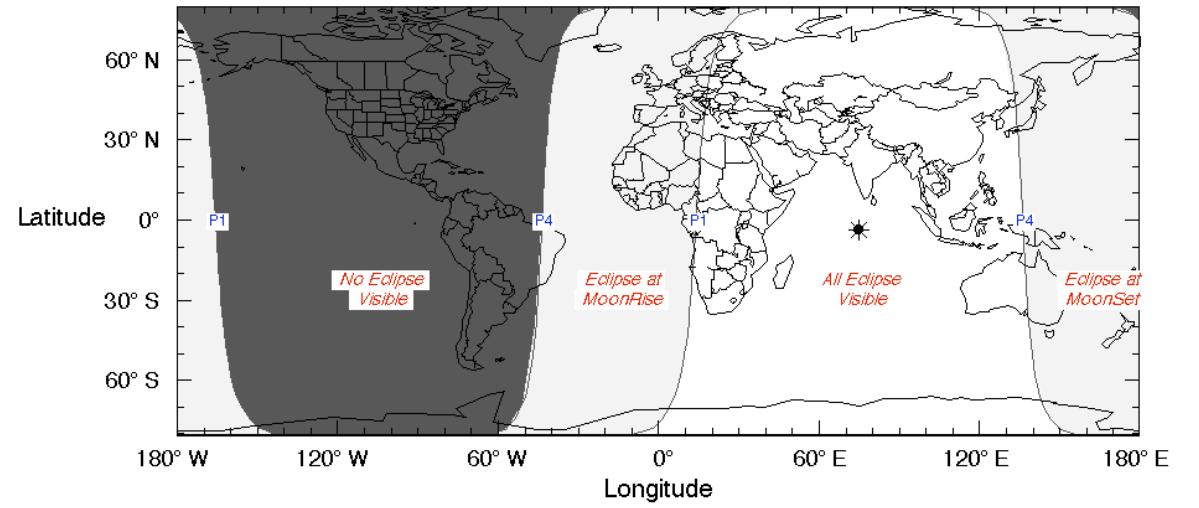 Peta Visibilitas Gerhana Bulan Penumbra 16 September 2016. Sumber : Eclipse.gsfc.nasa.gov